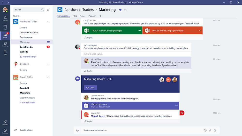 Microsoft Teams home page