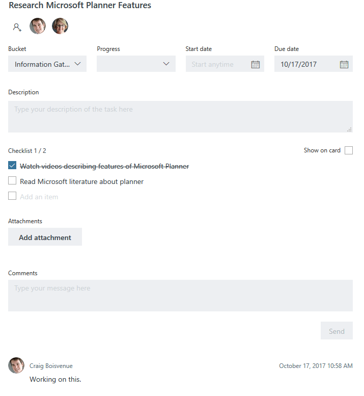 Office 365 Planner Tasks