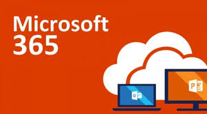Microsoft 365 Image with clouds and computers