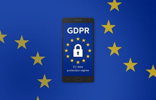 GDPR symbol on mobile phone