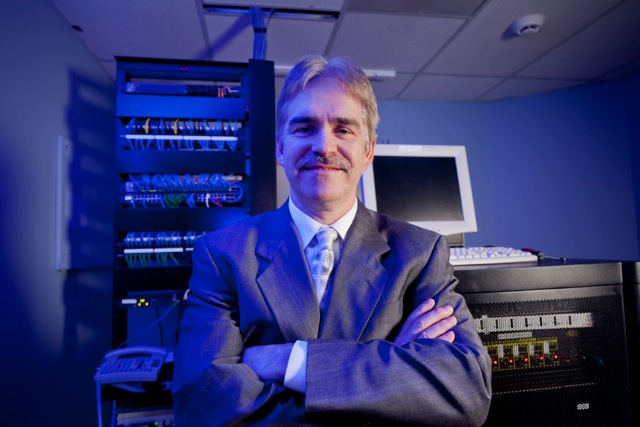 Bill Boisvenue in a server room